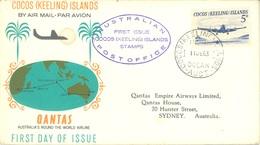 COCOS (KEELING) ISLANDS  - FDC - 11.6.1963 -  QANTAS  - Yv 2  -  Lot 17763 - Cocos (Keeling) Islands