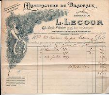 Paris Bd Voltaire : Facture LECOUR Manufacture De Drapeaux  (PPP14208) - France