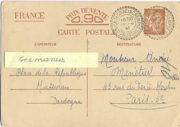 MONTAGNAC LA CREMPS DORDOGNE TàD FACTEUR RECEVEUR TàD 18-4-41 Sur ENTIER CP IRIS  INTERZONE - Marcophilie (Lettres)