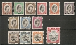 GRENADA 1953 - 1959 SET SG 192/204 VERY LIGHTLY MOUNTED MINT Cat £60 - Grenada (...-1974)
