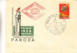 Russie - Lettre De 1958 - Oblit Kaunas - Exposition Philatélique - Lénin - Marx - 1923-1991 URSS