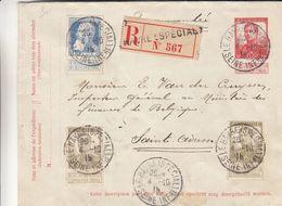 Belgique - Lettre Recom De 1915 - Entiers Postaux - Oblit Le Havre Spécial - Exp Vers Saint Adresse - Albert 1er - Guerre 14-18