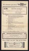 (3 Scans) TAUERN EXPRESS Railway Eisenbahn, Schedule 1958/59 ATHENS MUNCHEN STUTTGART OOSTENDE (see Sales Conditions) - Europe