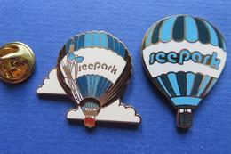 2 Pin's,montgolfière,SEEPARK,supermarché,Heissluftballon,Ballon,Baloon,papillon,limitée - Airships