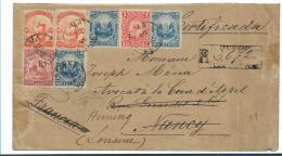 Per055 / Buntfrankatur Einschreiben 1896 Nach Frankreich - Peru