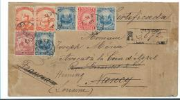 Per055 / Peru, Brief,  Buntfrankatur Einschreiben 1896 Nach Frankreich - Peru
