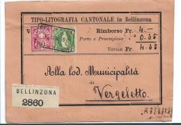 CH068 / Belinzona, Nachnahme 1895 Nach Vergletto - 1882-1906 Armarios, Helvetia De Pie & UPU
