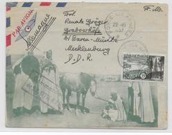 1957 - ENVELOPPE ILLUSTREE FM Par AVION Du SP 87716 En ALGERIE => ALLEMAGNE De L'EST Avec COMPLEMENT AERIEN !! - Postmark Collection (Covers)