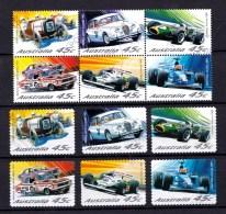 Australia 2002 Car Racing Set As Block Of 6 + Self-adhesives Used - Usati