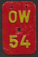 Velonummer Obwalden OW 54 - Plaques D'immatriculation