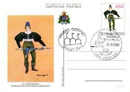 SAN MARINO 1986 CARD - FDC