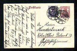 ALLENSTEIN -  15 Pf. Ganzsache Mit 15 Pf. Zufrankiert - 1920 Ab ORTELSBURG - Allemagne