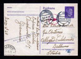 """1944 - Ganzsache Mit Lagerstempel """"Leonhard Haag / Auschwitz"""" Nach Italien - SELTEN - Guerre Mondiale (Seconde)"""