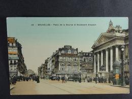 Bruxelles Place De La Bourse Et Boulevard Anspach - Places, Squares
