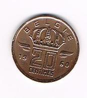 &-  BOUDEWIJN  20 CENTIEM 1960  VL    MIJNWERKER - 01. 20 Centimes