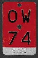 Velonummer Obwalden OW 74 - Plaques D'immatriculation