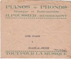 Enveloppe Commerciale / Pianos Phonos / Musique & Instruments / H. POUSSIER / 88 Remiremont Vosges - Maps