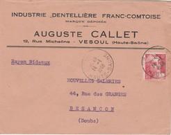 Enveloppe Commerciale 1948  /  Auguste CALLET / Industrie Dentelle Franc-Comtoise / Rue Micheline / 70 Vesoul - Maps