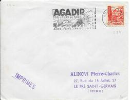 1808031 - N° 284 SUR LETTRE DE AGADIR DU 11 JANVIER 1955 - FLAMME - Storia Postale