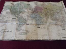 NOUVEAU PLANISPHERE TERRESRE A. M. PERROT 1870 Avec Les Principaux Parcours Des Paquebots - Cartes Géographiques