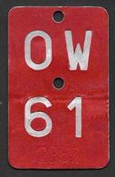 Velonummer Obwalden OW 61 - Plaques D'immatriculation