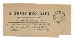 """1890 - BANDE JOURNAL """"L'INTERMEDIAIRE"""" Avec TàD """"IMPRIM 2 PARIS PP 1"""" - Marcophilie (Lettres)"""
