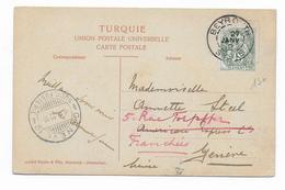 1912 - CP De BEYROUTH (LIBAN / SYRIE) Avec TYPE BLANC LEVANT Pour GENEVE (SUISSE) -> REEXPEDIEE - BFE BUREAU FRANCAIS - Liban