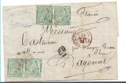 Spk113 / Allrgoriea Republica 1873, 10 C. (4 X) Nach Frankreich - Briefe U. Dokumente
