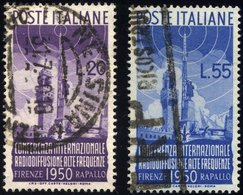 ITALIEN 796/7 O, 1950, Radiokonferenz, 2 Prachtwerte, Mi. 90.- - 6. 1946-.. Republik