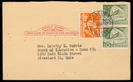 USA - XX. 1954 (7 Aug). US Card Half, Stra Fkd Swiss Stamps. Geneve - Ohio. Business Message / Admin. - United States