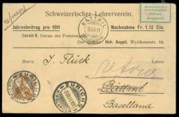 Switzerland - XX. 1911 (3 Aug). Zurich - Battwil. Private Card Reimburs Service Fkd Single 12c / Cds + Return / Refused  - Unclassified