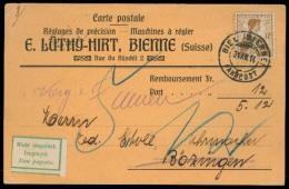 """Switzerland - XX. 1914 (31 Dec). Biel - Bozingen. Reiboursement Private Card Fkd 12c Single Fkg + """"""""non Pagato"""""""" Green L - Unclassified"""