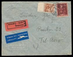Switzerland - XX. 1947 (21 July). Zurich - Israel / Tel Aviv. Express Airmail Fkd Env. Arival Cds. Fine. - Switzerland