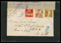 Switzerland - XX. 1917 (28 Dec). Grandgout - France. Military Mail / WW I. Triple Issues Fkd Censored Env. VF. - Switzerland