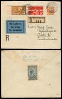 Switzerland - XX. 1935 (5 Oct). Winterthur -Tcheck Rep. Reg Air Multifkd + Stamps Exhibition. 1934 Label Reverse. - Switzerland