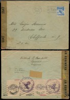 Switzerland - XX. 1942 (7 Nov). Locarno - USA. Fkd Env / US Censorship + Nazi With Stra Feld Post Censorship Cachet. Via - Switzerland