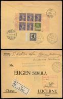 Switzerland - XX. 1924 (27 Dec). Bern - Luzerne. Reg Multifkd Env On Reverse Bocklet Block Margins Composition. Lovely I - Unclassified