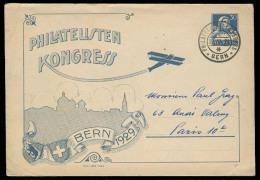 Switzerland - XX. 1929 (22 June). Bern - France. 30c Stat Env 1929 Bern Philatelic Congress. VF. - Switzerland