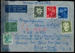 Switzerland - XX. 1944 (11 Dec). Basel - USA. Air Multifkd Env. POW Mail + US Camp Concordia / German Officer. Arrives 1 - Switzerland