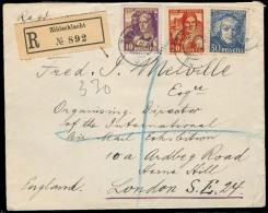 Switzerland - XX. 1934 (14 March). Zihlschlacht - UK. Reg Fkd Env. 1933 Pro Juventude / Circulated. VF. - Unclassified