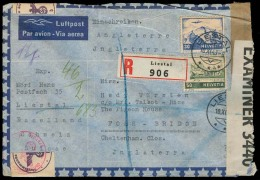 Switzerland - XX. 1943 (10 Nov). Liestal - UK. Reg Air Fkd Censored Env. Nazi + British. - Switzerland
