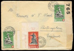 "Switzerland - XX. C.1940. Military Mail """"10 / Feldpost"""" Overseas Usage To UK Censored Env. Red Cross Multiple Usage. S - Switzerland"