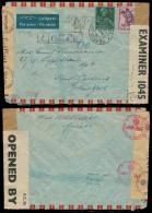 Switzerland - XX. 1943 (22 April). Geneve - USA / NY. Air Fkd Env With Nazi + Bermuda Cesnorship. IC-1045 Label. VF. - Switzerland