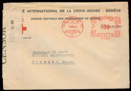 Switzerland - XX. 1943 (6 Aug). Geneve - Canada. Red Cross POW Mail. Machine Cancel + DB / C-80 (Bermuda) Censorship Lab - Unclassified