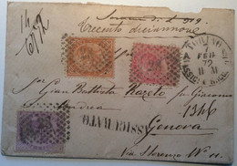 Regno D' Italia 1863 TORINO 1872 ASSICURATO Lettera > Genova (insured Cover Italy Lettre Italie V.D - Marcophilia