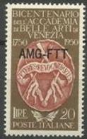 Trieste Zone A - 1950 Fine Arts Academy 20L MNH **   SG 172  Sc 88 - 7. Trieste