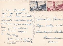 Timbres S/ Carte Postale . ANDORRE.  12 F Bleu + 8F Brun Rouge S/ Cpsm 10x15 Valls D'Andorra Gorges De Meritxell - Lettres & Documents