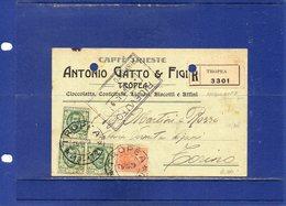 ##(ANT2)-TROPEA (VIBO VALENTIA) 1929-Cartolina Commerciale Intestata Antonio Gatto & Figli-Caffè Trieste-VINO-viaggiata - Italy