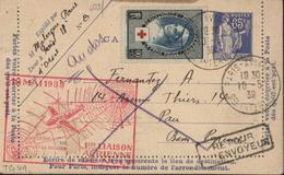 Sur Entier Storch D1 Paix Bleu 65c + YT 422 Cachet 1ère Liaison Aérienne De Nuit Paris Pau 10 Mai 1939 Aviation Avion - Postmark Collection (Covers)