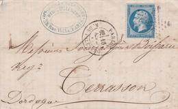 LAC + ETOILE 16 Bureau R. DE PALESTRO + CACHET 1530 POUR TERRASSON / DORDOGNE 17 SEPT 1865   LOT 32-39 - 1862 Napoléon III